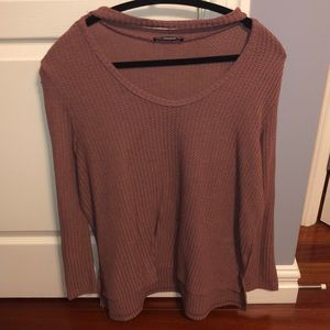 Brick-Coloured Open Neck sweater